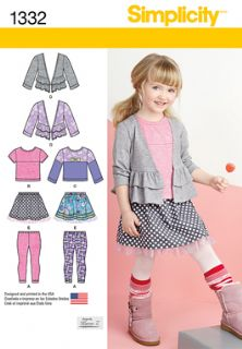 1332 Simplicity Pattern: Child's Skirt, Knit Leggings, Top and Cardigan